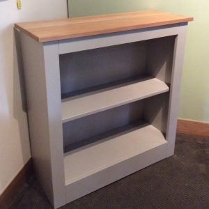 Painted bookcase with oak top hand built in Yorkshire