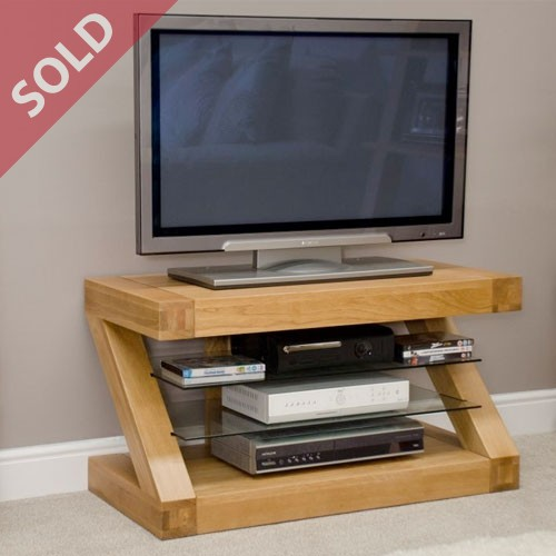 Z Designer Range solid oak TV Unit with glass shelves