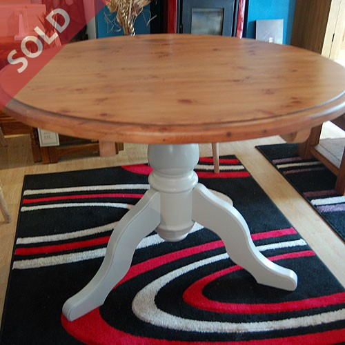 Pine topped round kitchen or dining room table with painted pedestal base