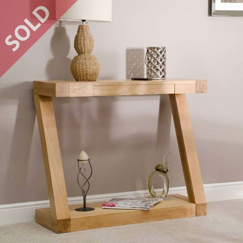 Z Oak Designer Console Hall Table with drawer