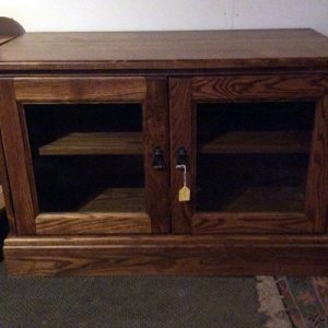 TV Cabinet handmade in solid Ash with glass doors and internal shelf