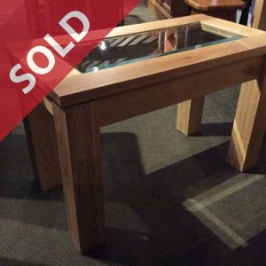 Glass Top Chene Oak Coffee Table handmade in Yorkshire