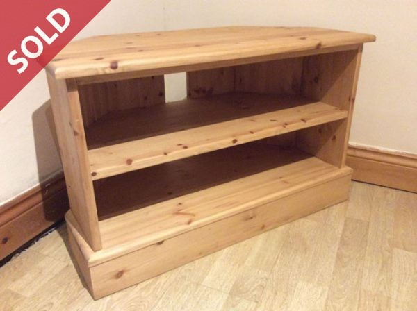 Small Pine Corner TV Unit handmade in South Yorkshire by Wentworth Furniture